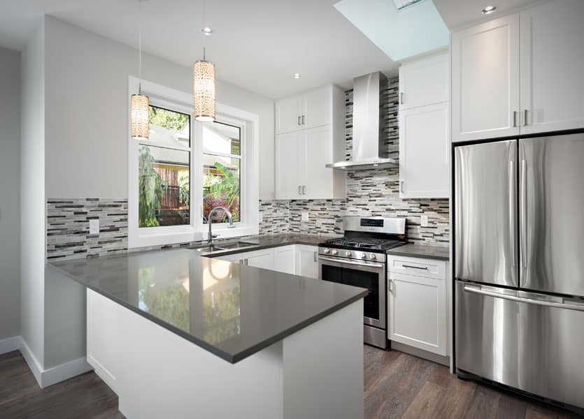 Moder and Contemporary white kitchen- Shakespeare Homes renovations Vancouver North and West
