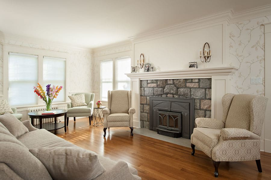 Elegant living room with fireplace Queens - Shakespeare Homes North Vancouver West Vancouver Custom Homes