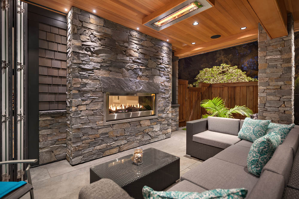 Cozy patio with Fireplace - Shakespeare Homes renovations Vancouver North and West